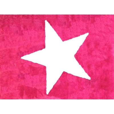Tapis enfant coton étoile Estela magenta