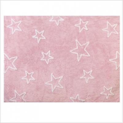 Tapis enfant coton étoiles Esterella rose