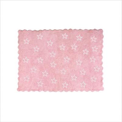 Tapis enfant coton étoiles Paris rose