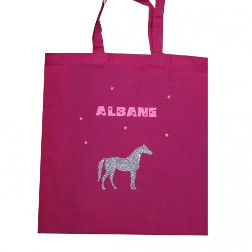 Tote bag cheval rose fuchsia personnalisable