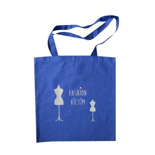 Tote bag Fashion Victim bleu