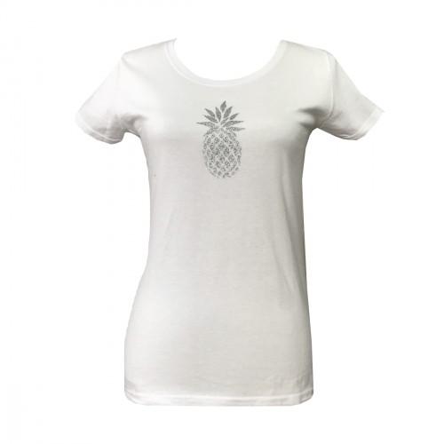 Tee shirt ananas ARGENT pailleté manche courte