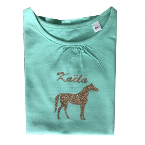 Tee shirt menthe cheval pailleté Kaëla
