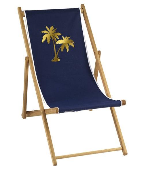 Chaise longue toile coton palmier personnalisable