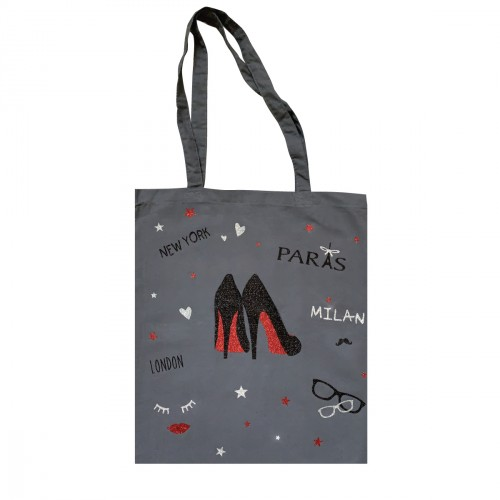 Tote bag gris escarpins Fashion