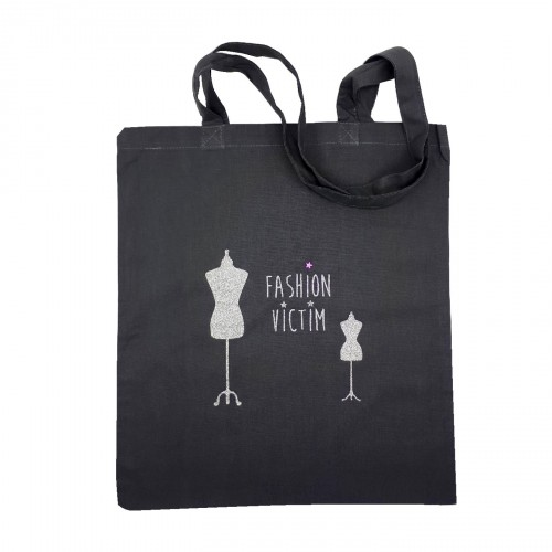 Tote bag Fashion victim gris foncé