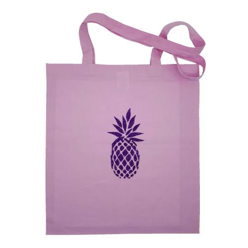 Tote bag rose pale ananas violet