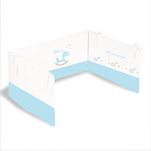 Tour de lit petit cheval de bois bleu personnalisable