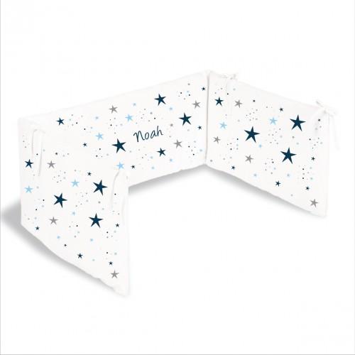 lili pouce tours de lit tour de lit toiles magiques bleu marine personnalisable. Black Bedroom Furniture Sets. Home Design Ideas