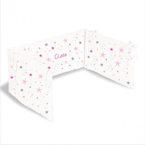 lili pouce tours de lit tour de lit toiles magiques roses personnalisable. Black Bedroom Furniture Sets. Home Design Ideas