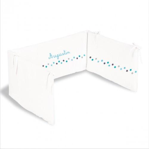 Tour de lit frise étoiles bleu turquoise personnalisable