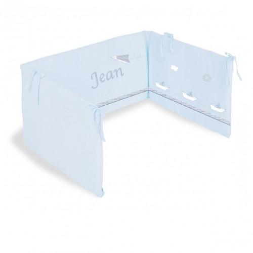 Tour de lit Petit Jean bleu personnalisable