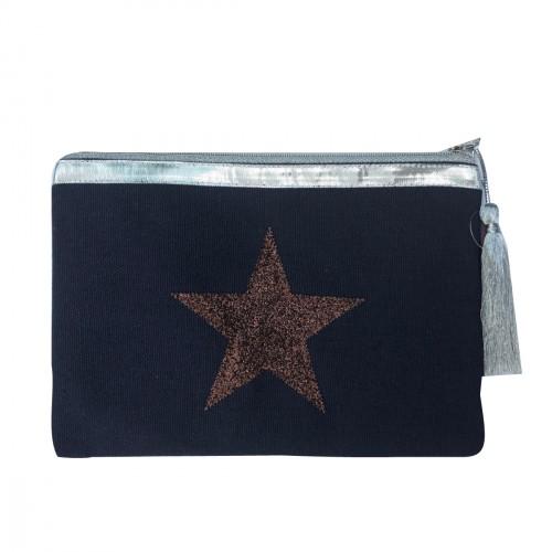 Pochette bleu marine étoile marron personnalisable