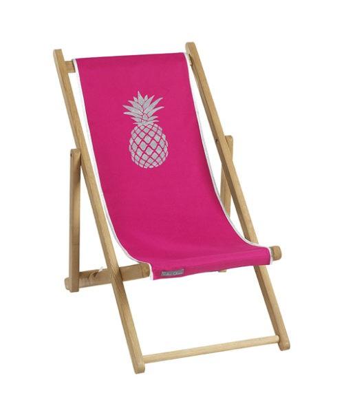 Chaise longue toile coton ananas personnalisable