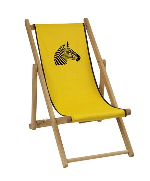 Chaise longue toile coton zèbre personnalisable