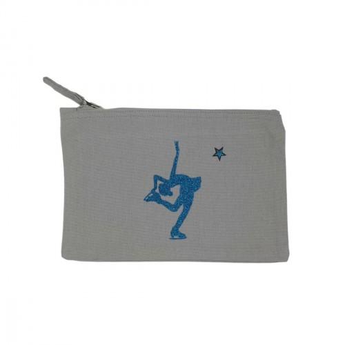 Pochette grise patineuse bleue