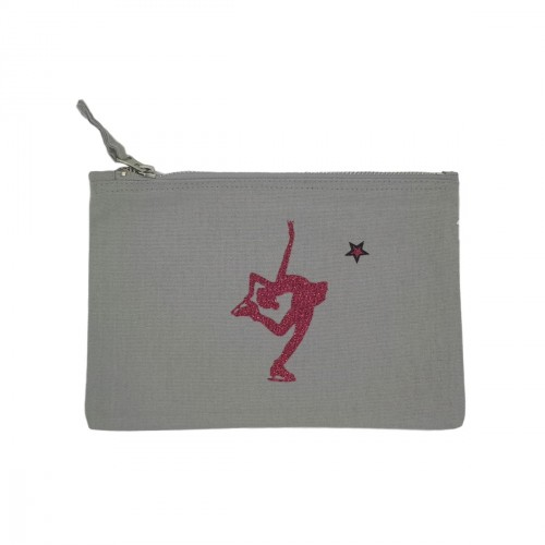 Pochette grise patineuse rose