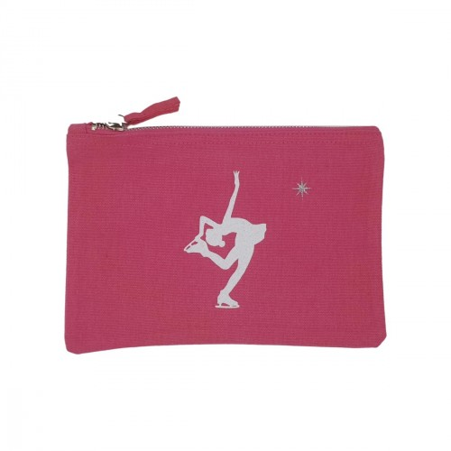Pochette rose patineuse blanche