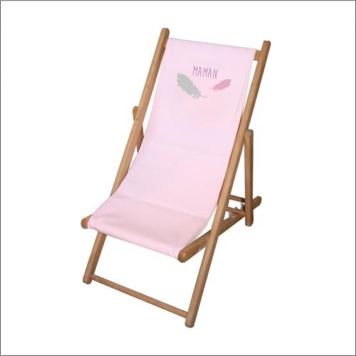 Chaise longue toile coton plumes personnalisable