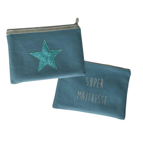 Trousse étoile bleu océan personnalisable
