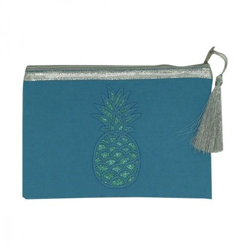 Pochette bleue ananas pailleté bleu
