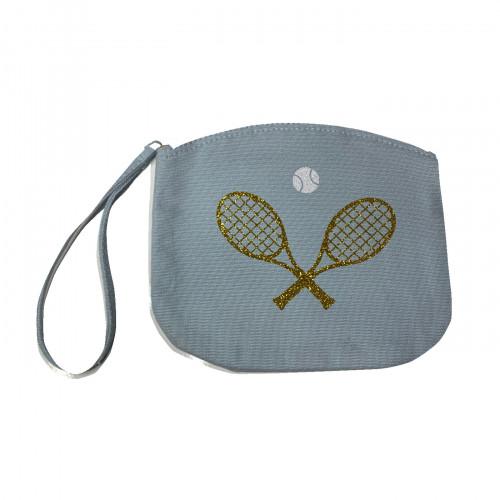 Pochette tennis bleu ciel pailleté or
