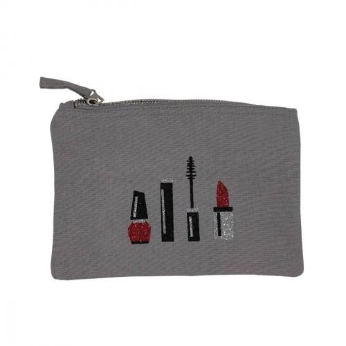 Pochette grise maquillage