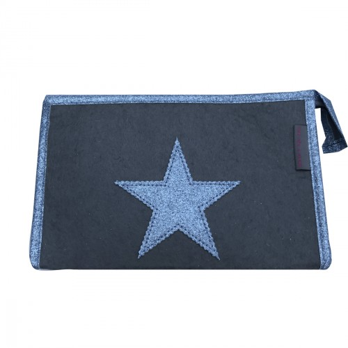 Pochette en feutrine grise étoile bleue personnalisable