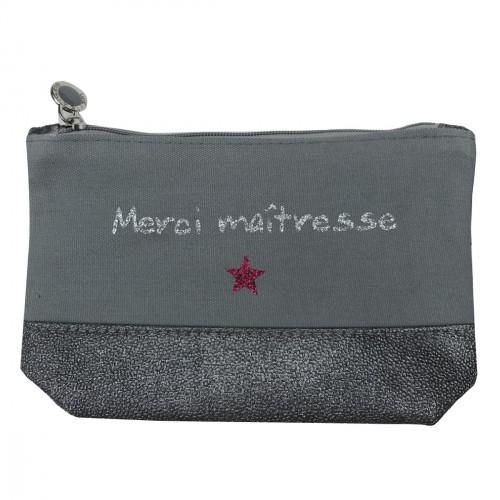 Pochette maîtresse grise étoile personnalisable