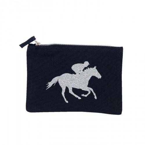 Pochette bleu marine cavalier au galop