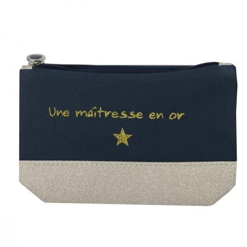 Pochette maîtresse bleu marine étoile dorée