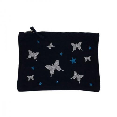 Pochette bleu marine papillons argentés
