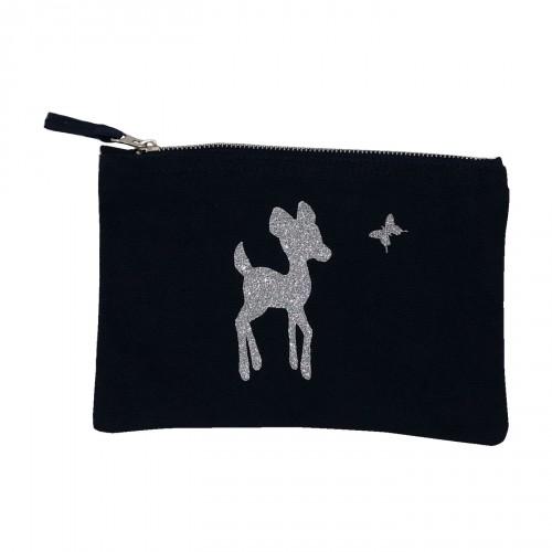 Pochette noire Bambi argent