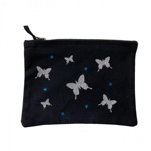 Trousse papillons étoiles turquoise personnalisable