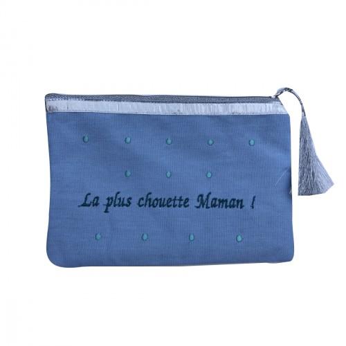Pochette maman bleu ciel personnalisable