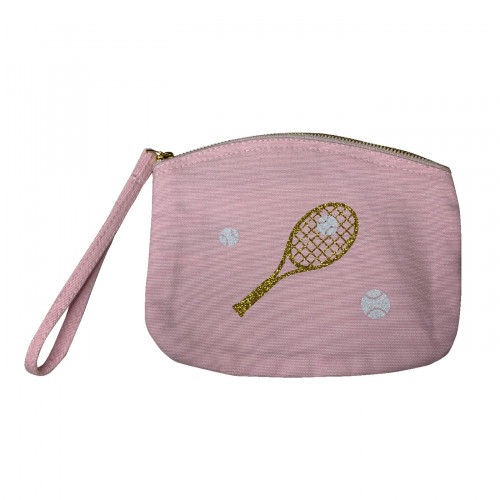 Pochette tennis rose pailleté or