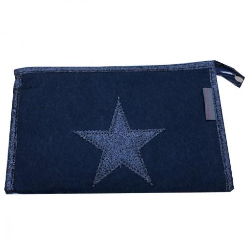 Pochette en feutrine bleu marine étoile bleue personnalisable