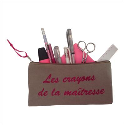Trousse maîtresse personnalisable les crayons de la maîtresse