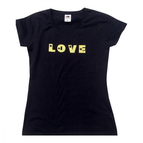 Tee-shirt noir femme message LOVE