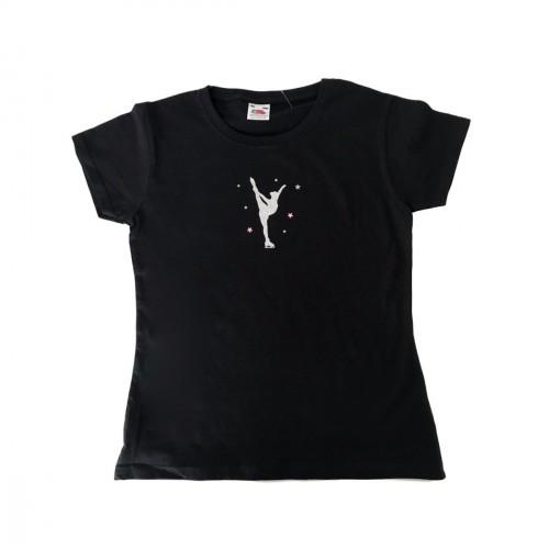 Tee shirt patineuse Billman argent étoiles roses