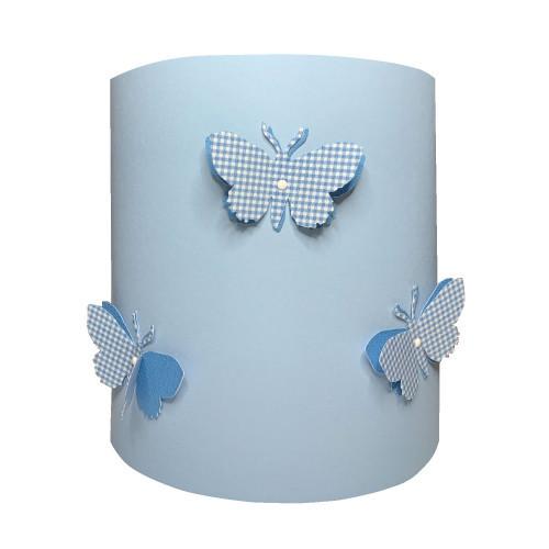 Applique papillons 3D vichy bleu
