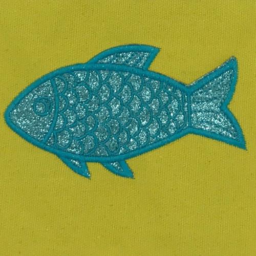 Pochette jaune poisson pailleté turquoise