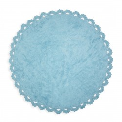 Tapis enfant coton rond cocooning bleu