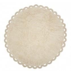 Tapis enfant coton rond cocooning beige