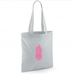 Tote bag gris clair ananas rose fluo