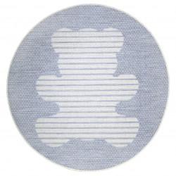 Tapis enfant rond ourson Teddy gris bleu de Nattiot