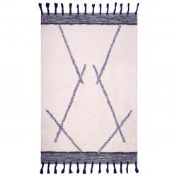Tapis coton lavable Shaanti bleu de Nattiot