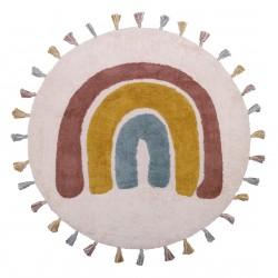 Tapis bébé rond coton lavable arc en ciel Rainbow de Nattiot