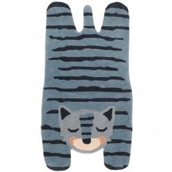 Tapis bébé laine tigre BLUE TIGGER de Nattiot