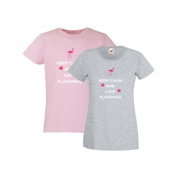 Tee shirt femme keep calm and love flamingo